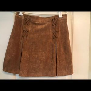 Fabrik Suede Vegan Skirt Lace Up Front Camel brown